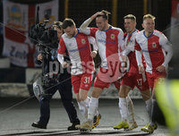 Danske Bank Premiership, The Showgrounds Ballymena 5/04/2019. Ballymena United v Linfield. Linfield\'s Andy Waterworth celebrates scoring. Mandatory Credit INPHO/Stephen Hamilton.