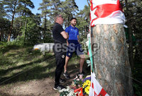 Press Eye - Belfast -  Northern Ireland -9 June 2019 - Photo by William Cherry/Presseye. Northern Ireland senior mens manager Michael ONeill, assistant manager Jimmy Nicholl and midfielder Stuart Dallas visited the Joey Dunlop memorial near Tallinn today to pay their respects to the Northern Ireland motorcycle ace. Dunlop was killed when he crashed in a road race staged on the outskirts of the Estonian capital in 2000.  ONeill laid yellow flowers at the memorial  Joey famously wore a yellow helmet  while Dallas, a road racing fan who idolised Dunlop as a kid, laid his shirt from last nights UEFA Euro 2020 qualifier between Estonia and Northern Ireland in Tallinn at the site.