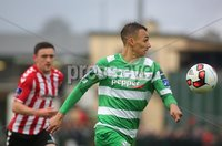©/Presseye.com - 19th May 2017.  Press Eye Ltd - Northern Ireland - Airtricity League Premier Division - Derry City V Shamrock Rovers. Shamrock Rovers\'s Graham Burke and Derry\'s Dean Jarvis.. Mandatory Credit Photo Lorcan Doherty / Presseye.com