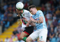 Danske Bank Premiership, Showgrounds, Ballymena  24/8/2019. Ballymena United  vs Glentoran FC . Ballymena United\'s Kofi Balmer   and  Jonathan Fraser of Glentoran .. Mandatory Credit  INPHO/Brian Little