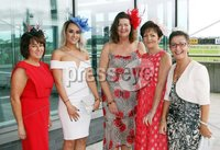 Press Eye © Belfast - Northern Ireland. Photo by Freddie Parkinson / Press Eye ©. Friday 8 September 2017. West Coast Cooler Race Evening at Down Royal Racecourse. Euince McClune, Lynsey McClune, Magaret Cannon, Liz Robinson and Sharon Atkinson