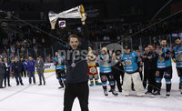 Press Eye - Belfast -  Northern Ireland - 06th April 2019 - Photo by William Cherry/Presseye. Belfast Giants\' pictured with the Elite Ice Hockey League trophy after being crowned Champions at the SSE Arena, Belfast.       Photo by William Cherry/Presseye