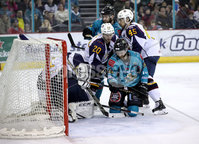 Press Eye - Belfast, Northern Ireland - 29th February 2020 - Photo by William Cherry/Presseye. Belfast Giants\' Ciaran Long with Guildford Flames\' Wouter Peeters during Saturday nights Elite Ice Hockey League game at the SSE Arena, Belfast.    Photo by William Cherry/Presseye