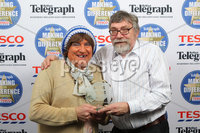 Press Eye - Belfast - Northern Ireland . 2012 Belfast Telegraph Making The Difference Awards  supported by TESCO.. Service with a Smile Award presented by May McFettridge to the Winner Fred Brown.  Mandatory credit: Picture by Brian Thompson/ Presseye.com. . .