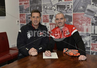. 6th December 2018. Goalkeeper Gerard Doherty pictured at Seaview with Stephen Baxter after signing for Crusaders on  an 18 month contract which will start in January . Mandatory Credit  Stephen Hamilton.  .