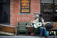 Press Eye - Belfast - Northern Ireland - 10th October 2020. New coronavirus restrictions come into force on Friday evening.. Punters make the most of the last few hours. . Bittles Bar, Belfast. Picture by Matt Mackey / Presseye.