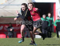 Press Eye Belfast - Northern Ireland 14th March 2019. Danske Bank Ulster Schools Girls X7s Senior Cup Final. Enniskillen Royal Grammar School(in red) vs Loreto Secondary School Letterkenny.. Enniskillen\'s Sarah Armstrong tries to hold back Loreto\'s MEGAN MC GARVEY. . Picture by Jonathan Porter/PressEye.com