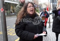 Mandatory Credit - Picture by Freddie Parkinson/Press Eye ©. Saturday 2 December 2017. Unite protest against Universal credit at the Department of the Communities, Bedford Street.. Kelly Armstrong MLA