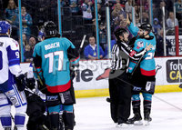 Press Eye - Belfast -  Northern Ireland - 06th April 2019 - Photo by William Cherry/Presseye. Belfast Giants\' Blair Riley reminds Coventry Blaze\'s Matt Hackett of the score during Saturday evenings PredictorBet Playoff Quarter Final 1st Leg game at the SSE Arena, Belfast. Photo by William Cherry/Presseye