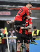 07/12/2019. Danske Bank Premiership, Seaview, Belfast Co. Antrim . Crusaders v Institute. Crusaders Paul Heatley celebrates after scoring to make it 2-1 to the Crues . Mandatory Credit INPHO/Stephen Hamilton.