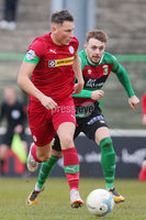 Danske Bank Premiership at the Oval in Belfast . 07.03.2020. Glentoran Vs Cliftonville. Glentorans Robbie McDaid with Cliftonvilles  Conor McDermott. Mandatory Credit INPHO/Jonathan Porter