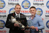 Press Eye - Belfast - Northern Ireland .  2012 Belfast Telegraph Making The Difference Awards  supported by TESCO.. 999 Hero presented by Mr Peter Craig, Chief Fire Officer, NI Fire & Rescue Service to the Winner Paul Lambe.  Mandatory credit: Picture by Brian Thompson/ Presseye.com. . .