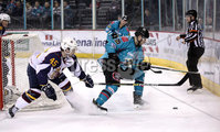 Press Eye - Belfast, Northern Ireland - 29th February 2020 - Photo by William Cherry/Presseye. Belfast Giants\' Jordan Smotherman with Guildford Flames\' Steve Lee during Saturday nights Elite Ice Hockey League game at the SSE Arena, Belfast.    Photo by William Cherry/Presseye