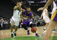 Press Eye - Belfast -  Northern Ireland - 30th November 2018 - Photo by William Cherry/Presseye. Albany\'s Ahmad Clark with Dartmouth\'s Taurus Samuels during Friday afternoons Samson Bracket Consolation game in the Basketball Hall of Fame Belfast Classic at the SSE Arena, Belfast.