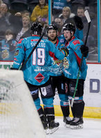 Press Eye - Belfast -  Northern Ireland - 11th January 2019 - Photo by William Cherry/Presseye. Belfast Giants Darcy Murphy celebrates scoring against HK Gomel during Friday nights Continental Cup Final game at the SSE Area, Belfast.   Photo by William Cherry/Presseye
