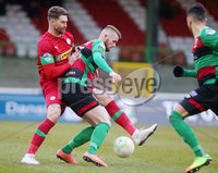 Danske Bank Premiership at the Oval in Belfast . 07.03.2020. Glentoran Vs Cliftonville. Glentorans Ruaidhri Donnelly with Cliftonvilles Garry Breen. Mandatory Credit INPHO/Jonathan Porter
