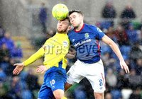 Danske Bank Premiership, Windsor Park, Belfast 10/2/2018. Linfield vs Dungannon Swifts. Linfield\'s Stephen Lowry in action with Ryan Harpur of Dungannon. Mandatory Credit ©INPHO/Declan Roughan