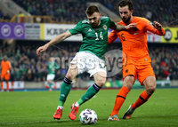 Press Eye - Belfast, Northern Ireland - 16th November 2019 - Photo by William Cherry/Presseye. Northern Ireland\'s Stuart Dallas with Netherlands\' Davy Propper during Saturday nights UEFA Euro 2020 Qualifier at the National Stadium, Belfast.     Photo by William Cherry/Presseye