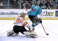Press Eye - Belfast, Northern Ireland - 06th December 2019 - Photo by William Cherry/Presseye. Belfast Giants\' Liam Morgan with Sheffield Steelers\' Tomas Duba during Friday nights Elite Ice Hockey League game at the SSE Arena, Belfast.       Photo by William Cherry/Presseye.