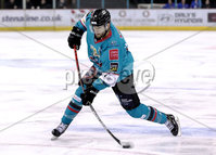Press Eye - Belfast, Northern Ireland - 06th December 2019 - Photo by William Cherry/Presseye. Belfast Giants\' Jordan Smotherman with Sheffield Steelers during Friday nights Elite Ice Hockey League game at the SSE Arena, Belfast.       Photo by William Cherry/Presseye