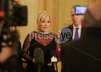 Press Eye - Belfast - Northern Ireland - 13th March 2019. Sinn Fein northern leader Michelle O\'Neill speaks to the media in the Grwt Hall at Parliament Buildings, Stormont, regarding the latest issues with Brexit. . Picture by Jonathan Porter/PressEye