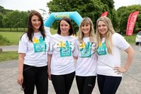 Press Eye - Belfast - Northern Ireland - 5th June 2016 - . Rachael Dalzell, Jennifer Morton, Kate Ferguson and Patricia McIlroy take part in the first ever Centra 5k pairs run for Action Cancer at Ormeau Park.. Over 100 families, friends and colleagues paired up today (Sunday 5th June) for the inaugural Centra Run Together event at Ormeau Park, raising vital funds for local charity Action Cancer. . Run Together is a set of four 5k races taking place across Belfast, Mid Ulster and Derry between June and October which encourage you to run with your partner, son, daughter, friend or neighbour. . Picture by Kelvin Boyes / Press Eye . .