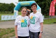 Press Eye - Belfast - Northern Ireland - 5th June 2016 - . Louise Pick and Maria Wilson from Belfast  take part in the first ever Centra 5k pairs run for Action Cancer at Ormeau Park.. Over 100 families, friends and colleagues paired up today (Sunday 5th June) for the inaugural Centra Run Together event at Ormeau Park, raising vital funds for local charity Action Cancer. . Run Together is a set of four 5k races taking place across Belfast, Mid Ulster and Derry between June and October which encourage you to run with your partner, son, daughter, friend or neighbour. . Picture by Kelvin Boyes / Press Eye . .