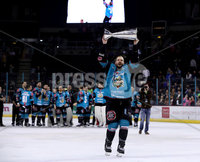 Press Eye - Belfast -  Northern Ireland - 06th April 2019 - Photo by William Cherry/Presseye. Belfast Giants\' Jim Vandermeer pictured with the Elite Ice Hockey League trophy after being crowned Champions at the SSE Arena, Belfast.       Photo by William Cherry/Presseye