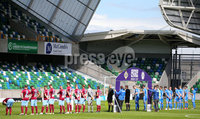 Press Eye - Belfast - Northern Ireland - 27th July 2020 - . Ballymena United FC v Coleraine FC Sadler\'s Peaky Blinder Irish Cup Semi Final at the National Football Stadium at Windsor Park.. The teams line up. . Photo by Jonathan Porter Press Eye.