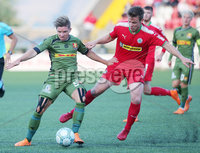UEFA Europa League First Qualifying Round First Leg, Solitude, Belfast 12/7/2018. Cliftonville vs Nordsjaelland. Cliftonville\'s Jamie McGovern with Nordsjaelland\'s Mads Pedersen. Mandatory Credit ©INPHO/Jonathan Porter
