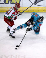 Press Eye - Belfast, Northern Ireland - 01st February 2020 - Photo by William Cherry/Presseye. Belfast Giants\' Ben Lake with Cardiff Devils\' Joey Martin during Sunday afternoons Elite Ice Hockey League game at the SSE Arena, Belfast.   Photo by William Cherry/Presseye
