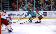 Press Eye - Belfast, Northern Ireland - 01st February 2020 - Photo by William Cherry/Presseye. Belfast Giants\' Matt Pelech with Cardiff Devils\' Ben Bowns during Sunday afternoons Elite Ice Hockey League game at the SSE Arena, Belfast.   Photo by William Cherry/Presseye