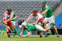Lory Meagher Final, Croke Park, Dublin 9/6/2012. Fermanagh vs Tyrone. Fermanagh\'s Daniel Teague with Shea McKiver and Conor Grogan of Tyrone. Mandatory Credit ©INPHO/Ryan Byrne