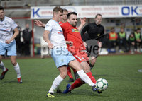 13th April 2019. Danske Bank Irish premiership. Cliftonville v Ballymena United at Solitude Belfast.. Cliftonville\'s Jamie Harney  in action with Ballymena\'s Leroy Millar. Mandatory Credit -Inpho/Stephen Hamilton .