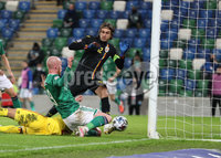 Press Eye-Belfast-Northern Ireland -18th November 2020. National Football Stadium at Windsor Park, Belfast. . 18/11/2020. Northern Ireland  Liam Boyce scores the opening goal against  Romania    during Wednesday   night\'s UEFA Nations League match at the National Football Stadium at Windsor Park,Belfast.. Mandatory Credit PressEye