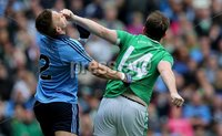 GAA Football All Ireland Senior Championship Quarter-Final, Croke Park, Dublin 2/8/2015. Dublin vs Fermanagh. Dublin\'s Jonny Cooper with Sean Quigley of Fermanagh. Mandatory Credit ©INPHO/Donall Farmer