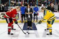 Press Eye - Belfast -  Northern Ireland - 05th January 2019 - Photo by William Cherry/Presseye. Councillor Deirdre Hargey, Lord Mayor of Belfast drops the puck at the ceremonial face-off with captains from Northeastern University and Clarkson University during Saturdays inaugural Womens Friendship Four game at the SSE Arena, Belfast.   Photo by William Cherry/Presseye