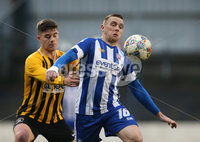 Tennent\'s Irish Cup Round 5, The Showgrounds, Co. Londonderry 5/1/2019. Coleraine vs H&W Welders. Coleraine\'s Ian Parkhill in action with H&W Welders Charlie Dornan. Mandatory Credit INPHO/Matt Mackey