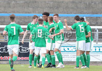 Press Eye Belfast - Northern Ireland 7th September 2018. U19 International Challenge Match - Northern Ireland Vs Slovakia at The Showgrounds, Newry.. Northern Ireland celebrate after Liam Smyth scores to make it 2-1. . Picture by Jonathan Porter/PressEye.com