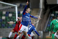 Press Eye - Belfast, Northern Ireland - 29th October 2019 - Photo by William Cherry/Presseye. Linfield\'s Joel Cooper claims the ball went over the line but no goal was given during Tuesday nights BetMcLean League Cup game at Windsor Park, Belfast.     Photo by William Cherry/Presseye