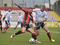 6th August 2018. Danske Bank Irish premier league match between Crusaders and Ards at Seaview.. Crusaders Rory Patterson  in action with Ards David Elebert.  Mandatory Credit: Stephen Hamilton /Inpho