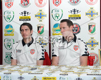 Presseye.com ©Stephen Hamilton  - 9th  May 2012. Derry Citys Ruaidhri Higgins and Barry Molly  pictured at the Setanta cup final press conference held ahead of Saturdays game at the Oval.   Mandatory Credit - Picture by Stephen Hamilton/Presseye.