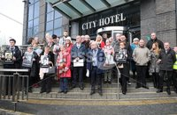 Press Eye Northern Ireland. Thursday 14th March 2019. . Public Prosecution Service announcement of persecutions over Bloody Sunday . Families at the City Hotel following the briefing by the PPS.. Photo Lorcan Doherty/Presseye