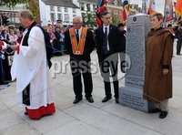 Centenary Covenant Obelisk Unveiling -  Portadown - 30th June 2012. Copyright Presseye.com. Mandatory Credit -  Declan Roughan / Presseye. (L-R)Rev Canon Jim Campbell  Darryl Hewitt, Lord Craigavon\'s great grandson Max Coleman and grand daughter Aileen Coleman. An unveiling and dedication ceremony took place in Portadown on Saturday. A new 6 foot Centenary Covenant Obelisk was unveilled in the town centre plaza  in the presence of Lord Craigavon\'s grand daughter Aileen Coleman and great grandson Max Coleman. Wreaths were also laid at the second world war monument.