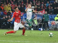 PressEye-Northern Ireland- 12th November  2017-Picture by Brian Little/ PressEye. Switzerland  Fabian Schar   and Northern Ireland  Jamie Ward     during Sunday night\'s FIFA  World Cup play-off  second leg match at St Jacob Park, Basel.. Picture by Brian Little/PressEye