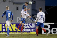 Danske Bank Premiership, Mourneview Park, Co. Armagh 3/4/2018 . Glenavon vs Linfield. Mandatory Credit ©INPHO/William Cherry. Glenavon\'s Andrew Mitchell with Linfield\'s Mark Haughey
