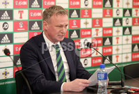 Press Eye - Belfast - Northern Ireland - 12th March 2018. Northern Ireland manager Michael O\'Neill pictured at the National Stadium at Windosr Park, south Belfast, where he announced his squad ahead of the international friendly against South Korea next Saturday.. Picture by Jonathan Porter/PressEye