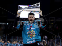 Press Eye - Belfast -  Northern Ireland - 06th April 2019 - Photo by William Cherry/Presseye. Belfast Giants\' Jordan Smotherman pictured with the Elite Ice Hockey League trophy after being crowned Champions at the SSE Arena, Belfast.       Photo by William Cherry/Presseye
