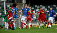 Press Eye - Belfast, Northern Ireland - 29th October 2019 - Photo by William Cherry/Presseye. Linfield\'s Shayne Lavery with Cliftonville\'s Liam Bagnall during Tuesday nights BetMcLean League Cup game at Windsor Park, Belfast.     Photo by William Cherry/Presseye