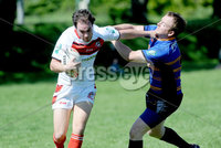 ©Press Eye Ltd Northern Ireland - 26th May 2012. Rugby league match between Ulster and Leinster at Malone rugby club Belfast.. Ulster\'s Joe Taylor in action with Leinster\'s Kenny Calladine. Mandatory Credit - Picture by Stephen Hamilton /Presseye.com. .